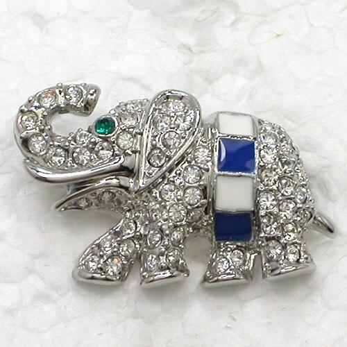 12pcs/lot Wholesale Fashion Brooch Crystal Rhinestone Enamel Small elephant Pin brooches CLOVER JEWELLERY
