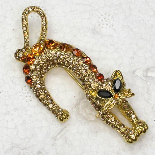 12pcs/lot Fashion Brooch Crystal Rhinestone Kittens Pin brooches Jewelry Gift CLOVER JEWELLERY