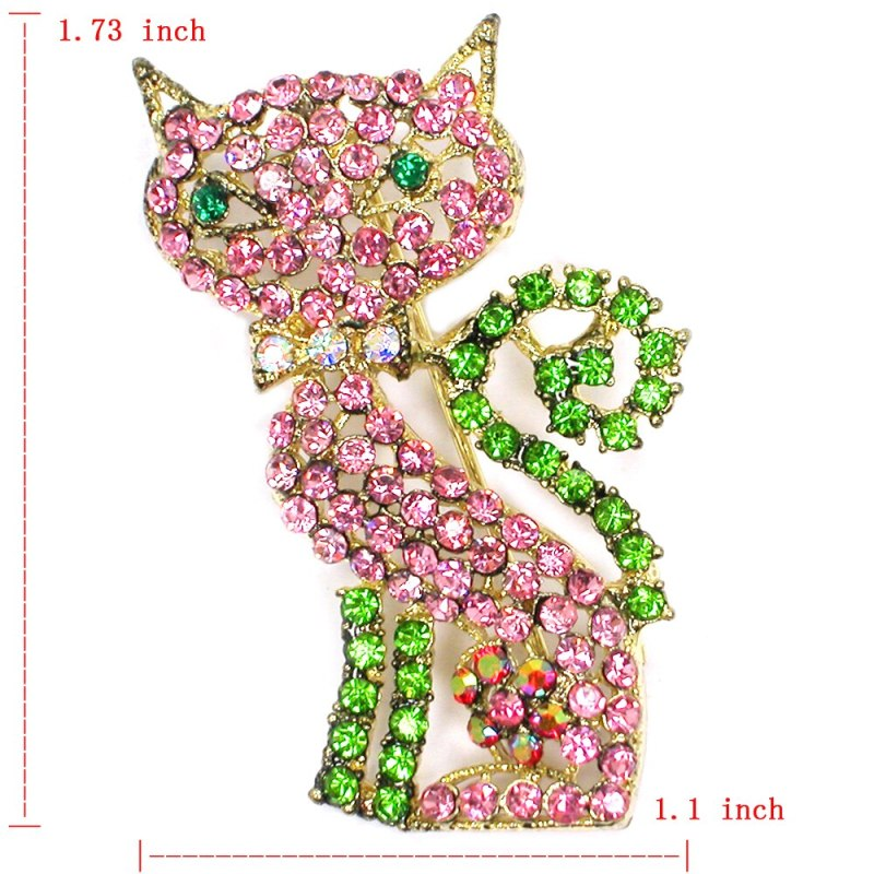 12pcs/lot Wholesale Fashion Brooch Rhinestone Cat Pin brooches Accessories Jewelry gift CLOVER JEWELLERY