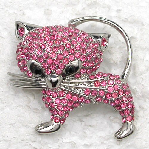 12pcs/lot Fashion Brooch Rhinestone Cat Pin Brooches In 6 Colors CLOVER JEWELLERY
