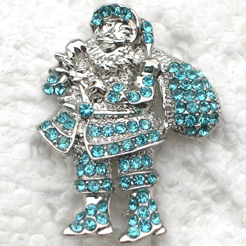 12pcs/lot Wholesale Fashion Brooch Rhinestone Christmas Santa Claus Pin brooches Christmas Gift CLOVER JEWELLERY