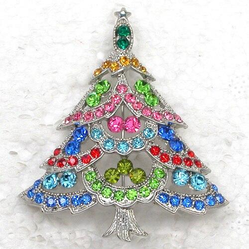 12pcs/lot Wholesale Fashion Brooch Rhinestone Christmas tree Pin brooches Christmas Gift CLOVER JEWELLERY