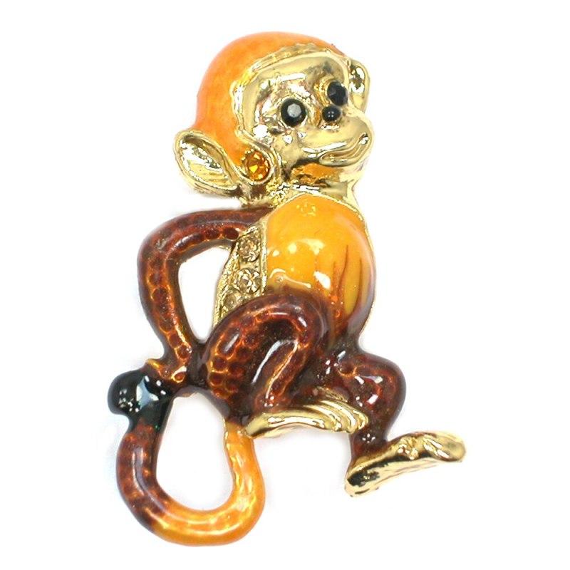 12pcs/lot Wholesale Fashion Brooch Rhinestone Enamel Monkey Pin brooches Jewelry gift CLOVER JEWELLERY