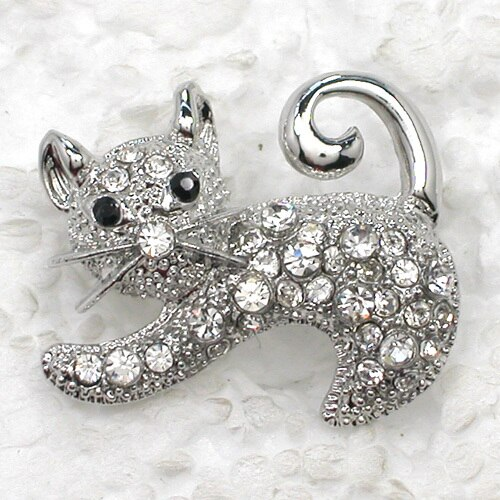 Fashion Brooch Rhinestone Kittens Pin Brooches 12pcs/lot Wholesale CLOVER JEWELLERY