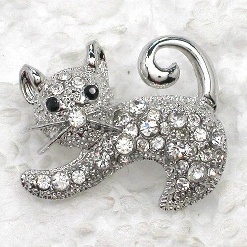 Fashion Brooch Rhinestone Kittens Pin Brooches 12pcs/lot Wholesale CLOVER JEWELLERY