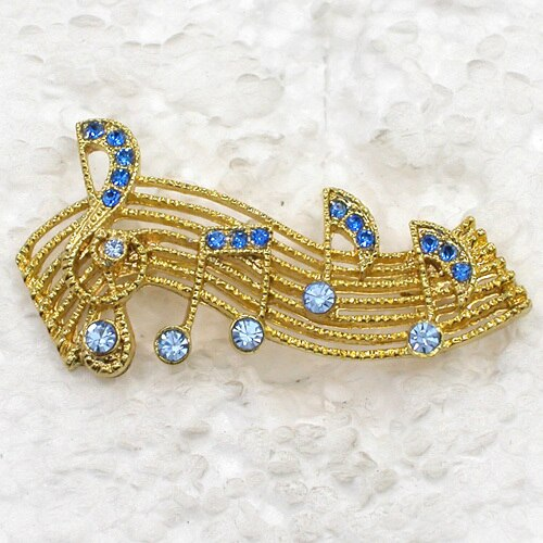 12pcs/lot Wholesale Fashion Brooch Rhinestone Music Note Pin Brooches Jewelry Gift CLOVER JEWELLERY