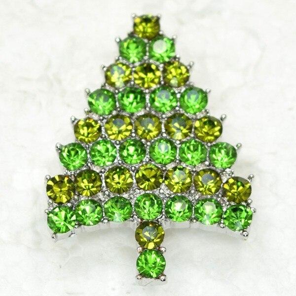 12pcs/lot Wholesale Fashion Brooch Rhinestone Small Christmas tree Pin brooches Christmas Gift CLOVER JEWELLERY