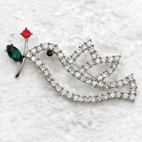 12pcs/lot Wholesale Rhinestone Christmas Doves Pin brooches Pendant CLOVER JEWELLERY