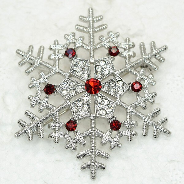 12pcs/lot Wholesale Rhinestone Christmas Snowflake Pin brooches Pendant CLOVER JEWELLERY