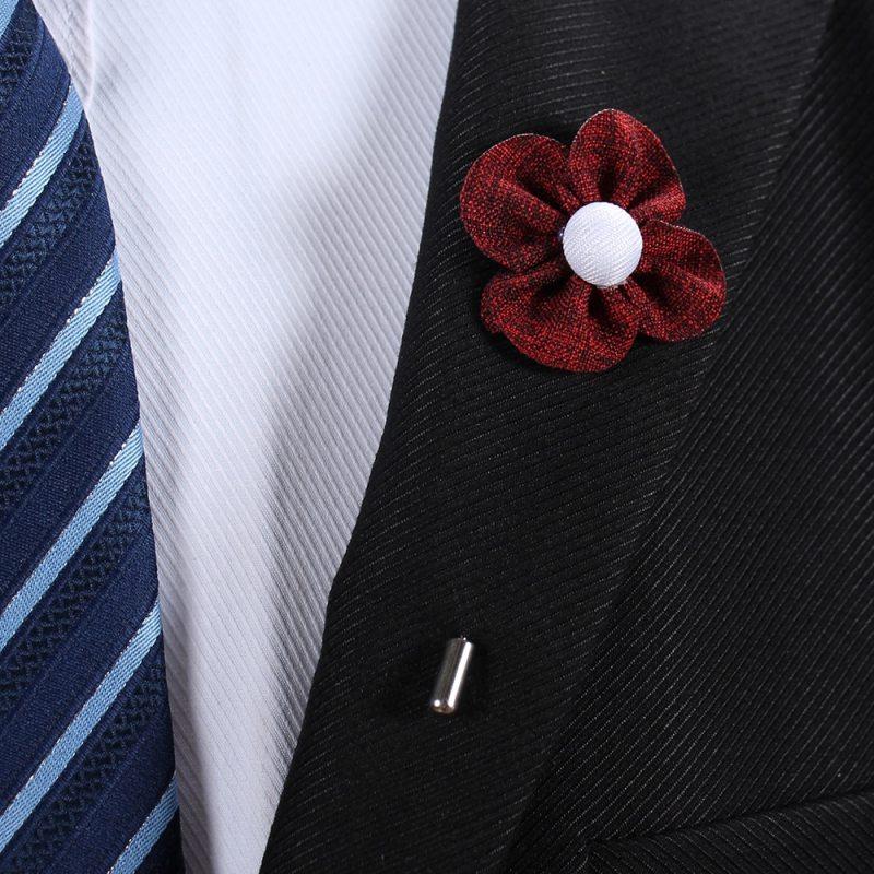 2pcs Fabric Flower Lapel Pins Four Leaf Clover Brooch Men Women Suit Broches CLOVER JEWELLERY
