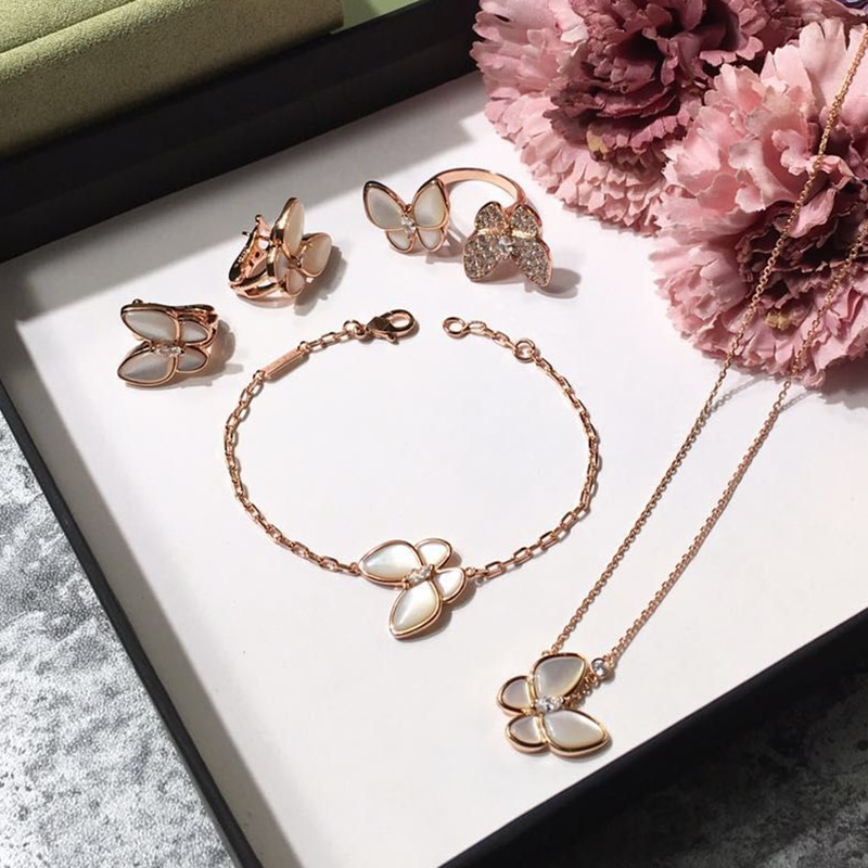 Women butterfly Necklace Mother Shell Pearl Clover Leaf Necklace butterfly Earrings Bracelet ring Set CLOVER JEWELLERY