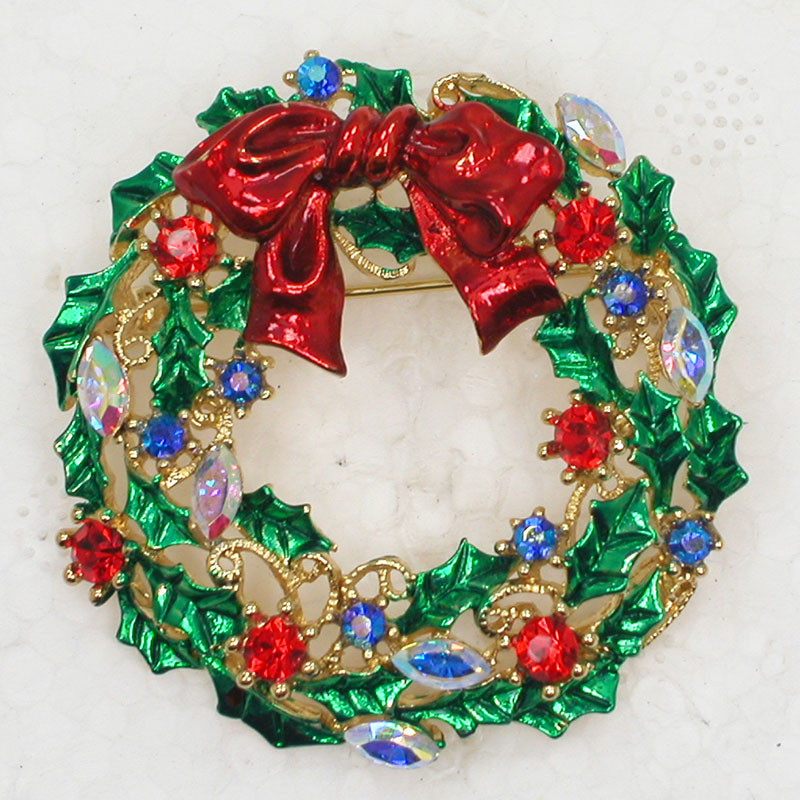 Christmas Bow Wreath Pin Brooches CLOVER JEWELLERY