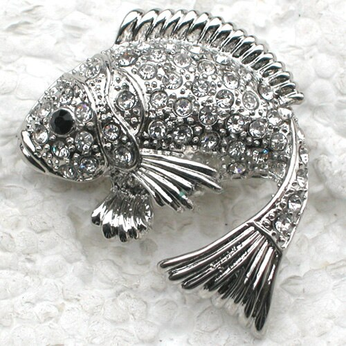 Clear Rhinestone brooch Pendant Fish Pin brooches CLOVER JEWELLERY