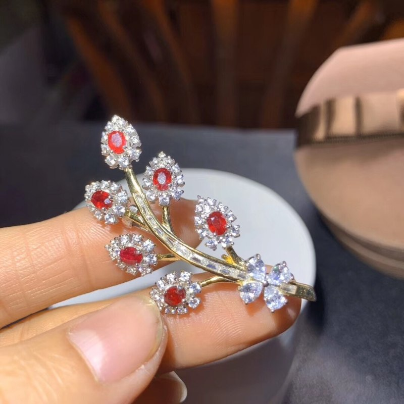 Natural Ruby Brooch for Party 7 Pieces Natura Ruby Silver Brooch Silver Leaf Brooch CLOVER JEWELLERY