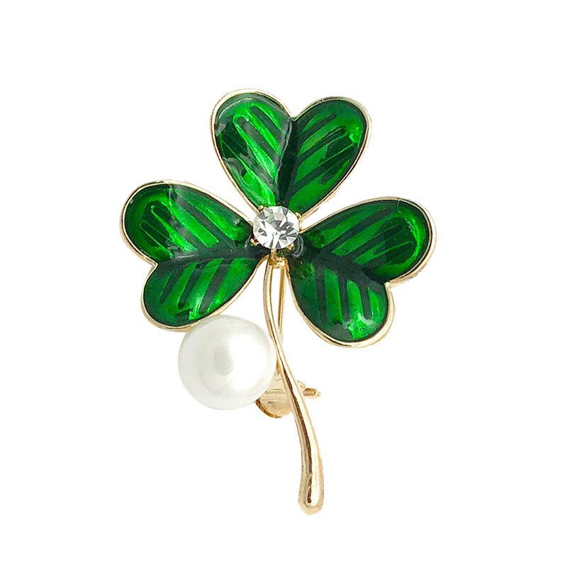 Alloy Clover Pearl Brooches For Women Elegant Pin Rhinestone Jewelry Brooches Gift CLOVER JEWELLERY