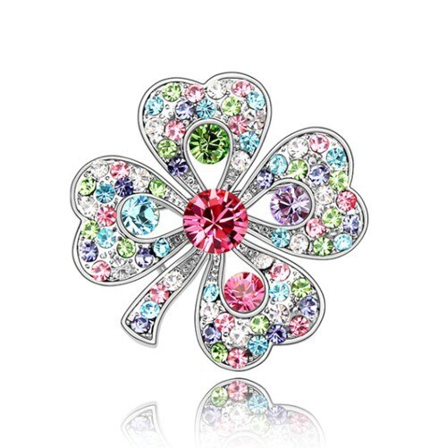 "Silver Plated Austrian Crystal Diamante Four Leaf Clover Brooch Pin 1.4"" CLOVER JEWELLERY"