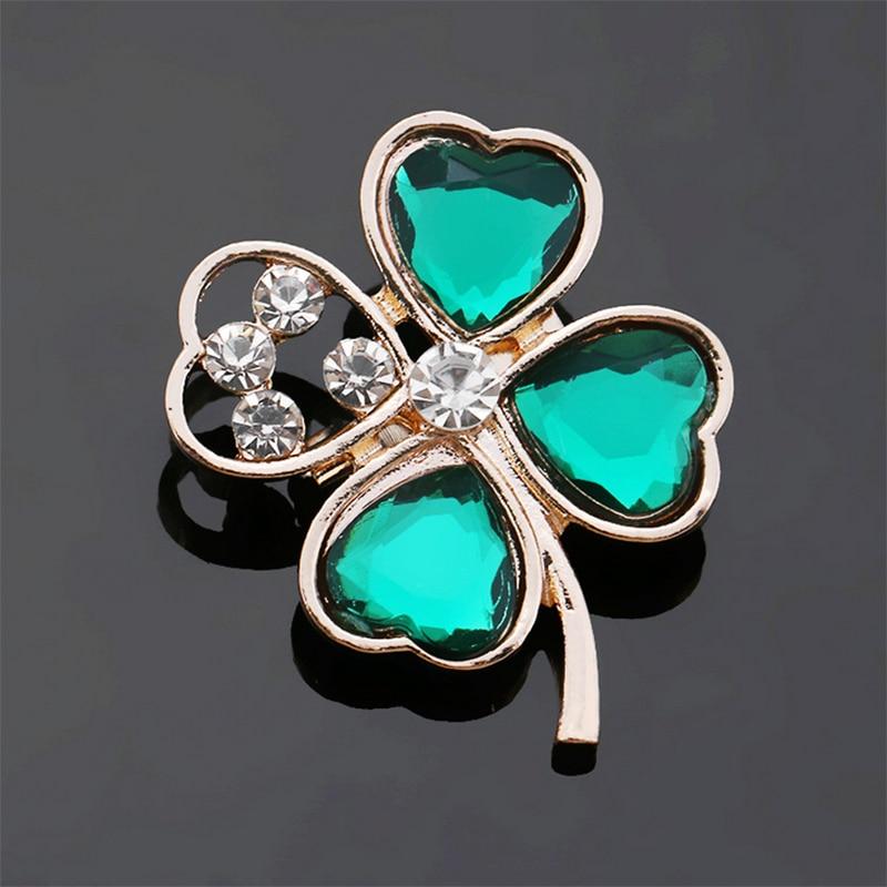 Elegant Irish Clover Green Leaf Women Brooch Crystal Rhinestone Girl Brooch CLOVER JEWELLERY