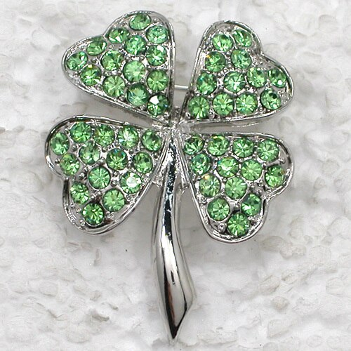 Four Leaf Clover Brooch Rhinestone Pin Brooches CLOVER JEWELLERY