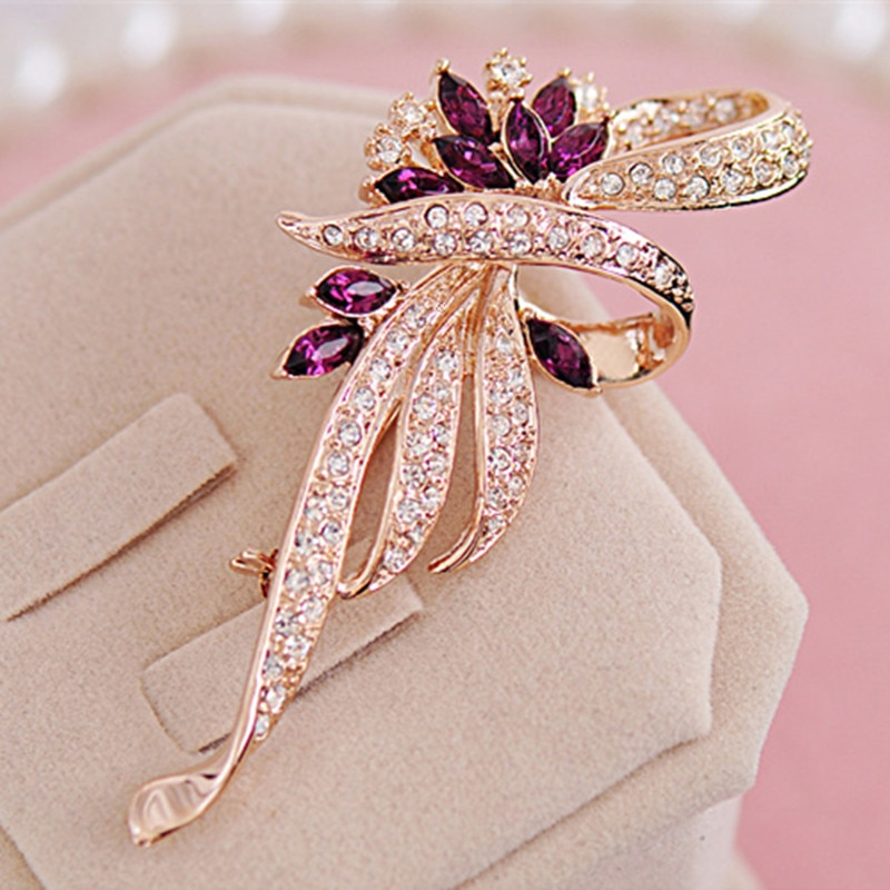 Elegant Woman Brooches Retro Fashion Crystal Brooches Pins CLOVER JEWELLERY