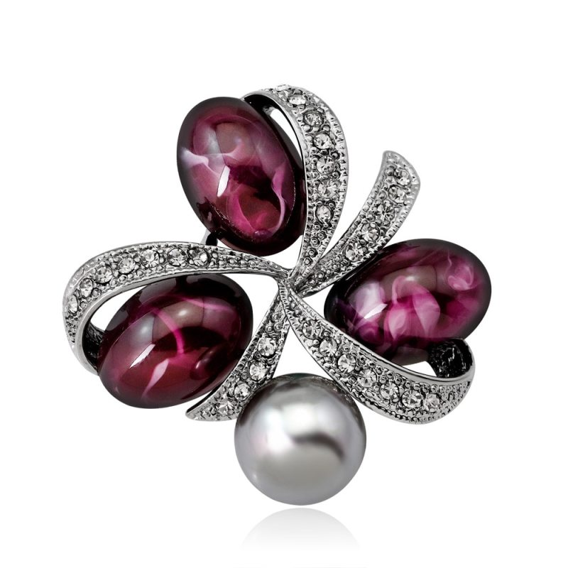 High Quality Imitation Pearl Rhinestone Stone Clover Brooches Pins CLOVER JEWELLERY