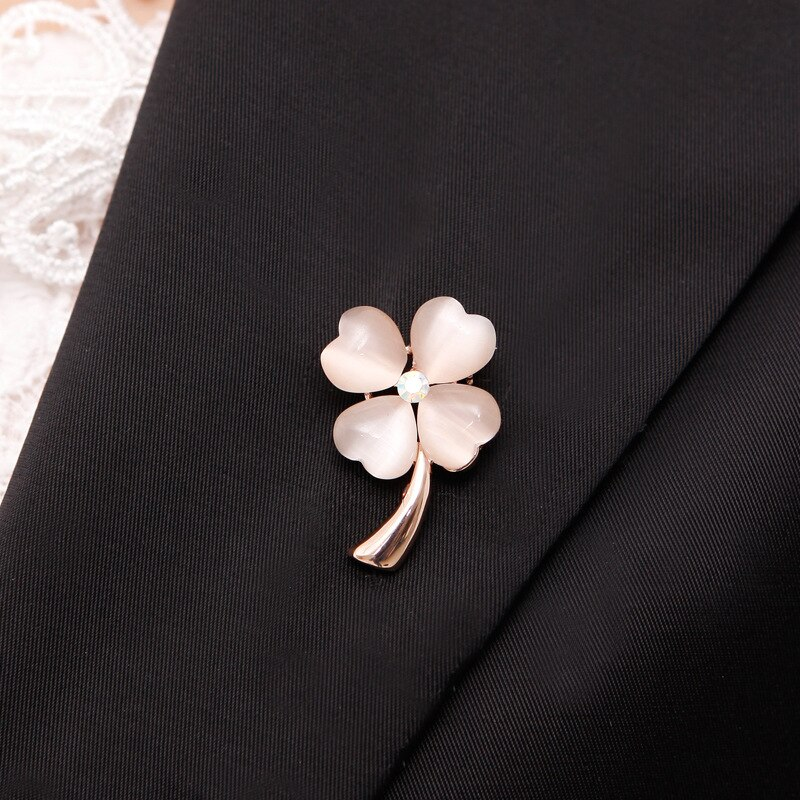 Fashionable Opal Stone Four Leaf Clover Brooch Pin CLOVER JEWELLERY