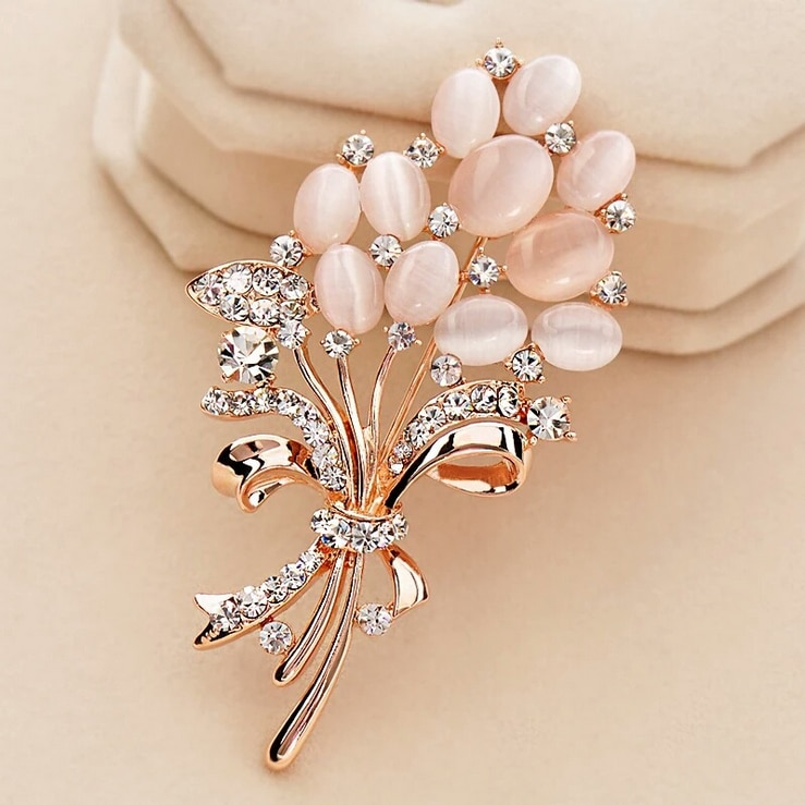 Fashionable Opal Stone Flower Brooch Pin Garment Accessories Birthday Gift brooches for women rhinestone brooch Pin CLOVER JEWELLERY