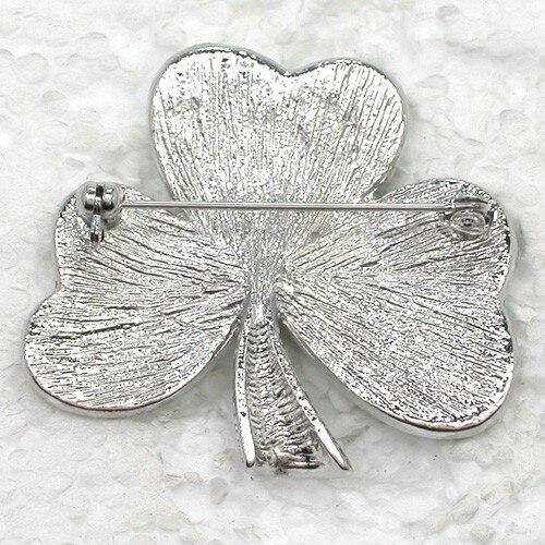 Fashion Brooch Rhinestone Shamrock clover Pin brooches Costume Accessories (12pcs/lot ) CLOVER JEWELLERY