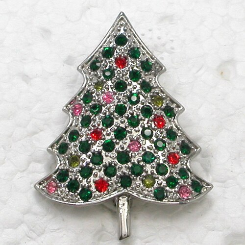 Christmas Tree Rhinestone Pin Brooches Jewelry Gift CLOVER JEWELLERY