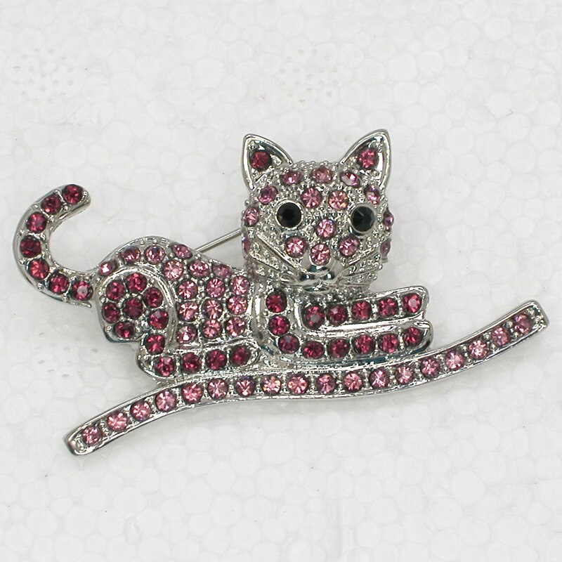 12pcs/lot Wholesale Kitty cat Brooch Rhinestone Pin brooches CLOVER JEWELLERY