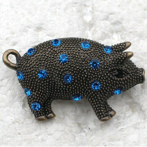 12pcs/lot Wholesale Piggy Rhinestone Pin brooches CLOVER JEWELLERY