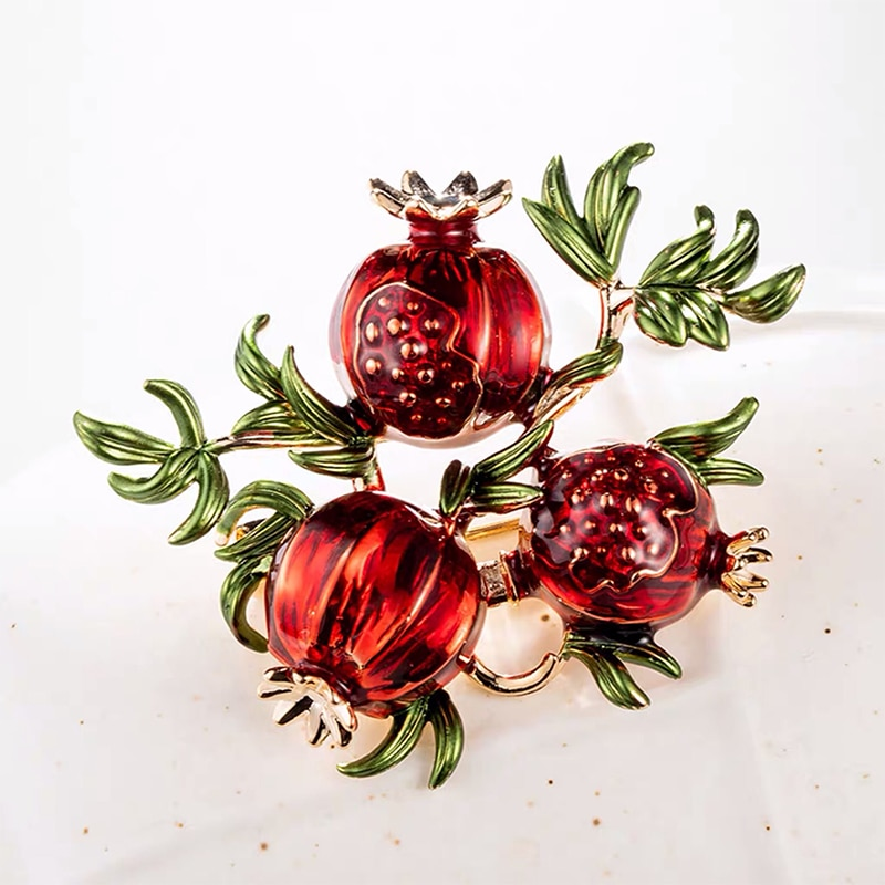 Red Enamel Pomegranate Brooches For Women Alloy Fruits Casual Weddings Brooch Pins CLOVER JEWELLERY