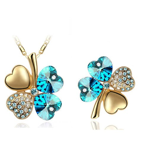 Austrian Crystal Clover 4 Leaves Charm Pendant Fashion Necklace Brooch Fashion Jewelry Sets CLOVER JEWELLERY