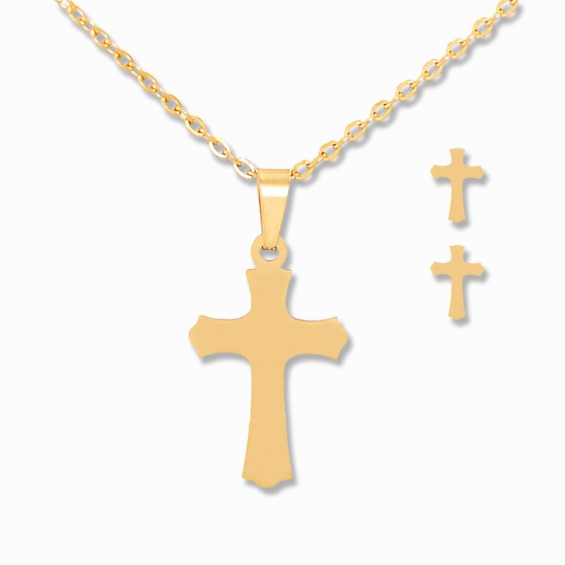 Cross Pendant Necklace Gold Choker Necklace Earrings Jewelry Set Gifts CLOVER JEWELLERY