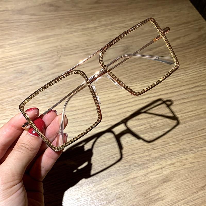 Transparent square sunglasses metal frame Women overize glasses Men Eyeglasses CLOVER JEWELLERY