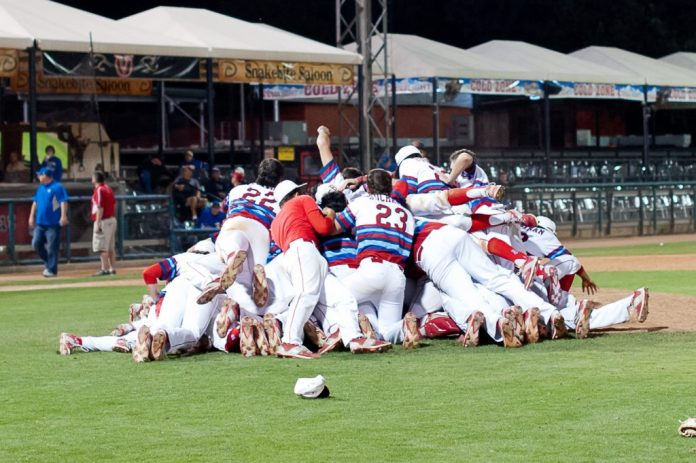 Photo by Brandon Pettitt The Buchanan baseball team celebrates after winning the D-1 Valley championship, beating Clovis 15-1. The Bears ended the season 29-4, won the TRAC and finished ranked No. 3 in the state and are this year's Boys' TRAC Team of the Year.