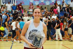 Photo by Nick Baker/ Landynn Munster was named MVP of the City/County game after leading her team to victory and scroing 12 points. She'll be attending Fresno Pacific College next season.