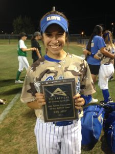 Photo by Paul Meadors Clovis senior Cameryn Reichle received the Jenny Eller Most Inspirational Award voted by her teammates after the City/County all-star softball game. Reichle stated it was one of the most rewarding surprises of her life.