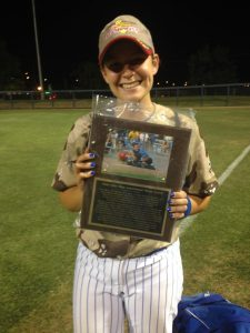 Photo by Paul Meadors Clovis outfielder Lyndsay Hathaway was named the City's Most Valuable Player after her performance in the 49th annual City/County softball game played June 17. Hathaway scored a two-run double in the first inning for the City squad.