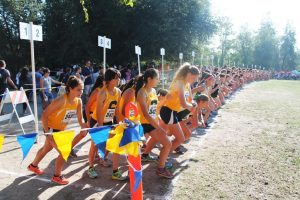 Photo by Ron Sundquist Runners prepare to take off before the 2015 Asics Clovis Invitational cross country meet at Woodward Park on Saturday, October 10. Clovis High's Mikayla Sodersten placed third overall with a time of 17:50.9.