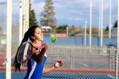 Photo by Nick Baker Buchanan senior Sienna Swain returns a ball in Buchanan's team victory over Stockdale on November 12. Swain won her match 6-1, 7-5 which clinched the D-1 Central Section Valley tennis title.