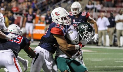 Fresno State freshman linebacker and Clovis High alum Josh Hokit makes a tackle as a member of the kickoff unit during the Bulldogs' 31-3 home-opening victory over Sacramento State Saturday, Sept. 10 at Bulldog Stadium. (Nick Baker/Clovis Roundup)
