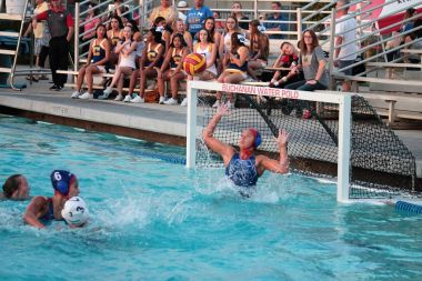 Photo by Ron Sundquist - A Clovis water polo player shoots in their TRAC game against Buchanan in a game won by the Cougars 8-5. The Cougars are the defending D1 Central Section champions.