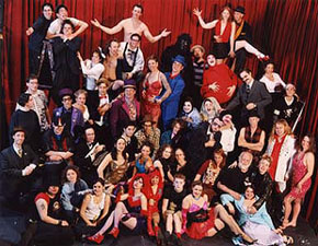 Just a few of the many performers that have performed with the Bindlestiff Family Cirkus.  I'm in this picture too!  (No beard, but look for the purple top hat)