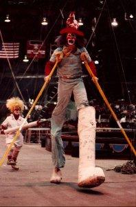 Hillbilly the Clown on stilts