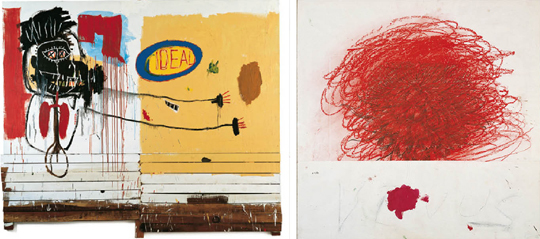 A gauche, Jean-Michel Basquiat, She Installs Confidence and Picks Up his Brain Like a Salad, 1988 A droite, Cy Twombly, Pan II, 1980