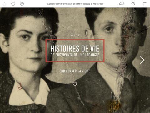 Page d'accueil de l'application iPad du Centre commémoratif de l'Holocauste à Montréal