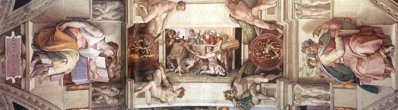 chapelle sixtine Michelangelo_-_Sistine_Chapel_ceiling_-_bay_7 wikipedia