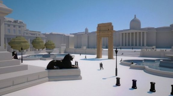 Simulation de l'installation de l'Arche 3D sur la place Trafalgar (IDA)