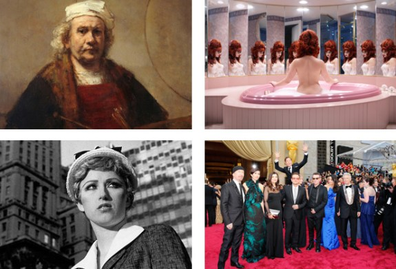 Rembrandt van Rijn Self-Portrait with Two Circles, Juno Calypso The Honeymoon Suite, Actor Benedict Cumberbatch jumps behind U2 at the 86th Academy Awards in Hollywood, California, Cindy Sherman Untitled Film Still #21 (c) Saatchi Gallery