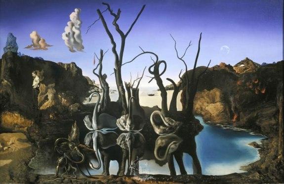 """Cygnes reflétant des éléphants"" (1937) (c) Fundacio Gala Salvador Dali"